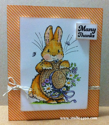 Many Thanks Materials used: Stamps - Bonnet Bunny 1440K (Penny Black), Many Thanks (Paper Smooches); Designer Paper - Plumeria 6x6 Paper Pad (Basic Grey); Copic Markers and Twine (Lawn Fawn)