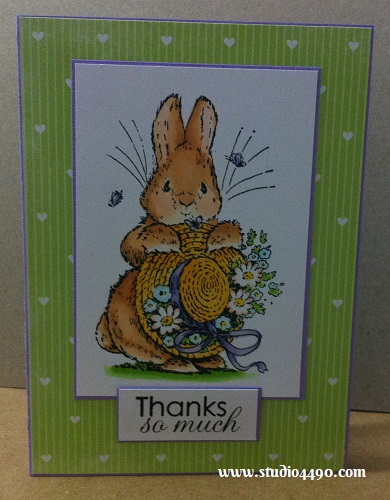 "Thanks So Much Materials used: Stamps - Bonnet Bunny 1440K (Penny Black), Salutations (Paper Smooches); Cardstock - American Crafts, Knight; Copic Markers and 6-1/2"" Paper Pad - Tea Party (KaiserCraft)."