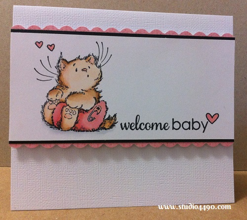 "Welcome Baby Avery Materials used: Stamps - Baby Kitty 1755H (Penny Black), A Birdie Told Me, Critters Ever After (Lawn Fawn), Salutations (Paper Smooches); Cardstock - American Crafts, Knight; Copic Markers; Fiskers Craft Punch; and Designer Paper - 6-1/2"" Paper Pad - Fine & Sunny (KaiserCraft)."