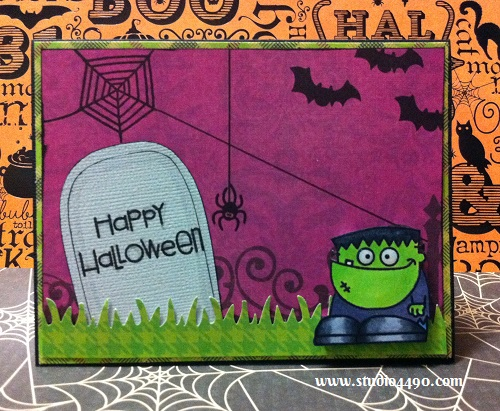 Happy Halloween Materials Used: Stamps - Halloweenies (Paper Smooches); Copic Markers; Designer Paper - The Bewitched Stack (DCWV); Cardstock - American Crafts, Knight and Border Punch - Grass (Fiskars).