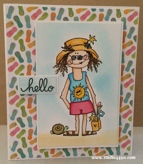 Hello Materials used: Stamps - 0828D (Imaginations!), Chit Chat (Paper Smooches); Cardstock - American Crafts; Designer Paper - 6x6 Paper Pad - Poolside (Party with Amy Locurto/Pebbles); Copic Markers, Distress Ink and Glossy Accents (Ranger).