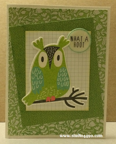 "What a Hoot Materials used:  Die Cuts - Hello Sunshine (KAISERCraft); Designer Paper - 6-1/2"" Paper Pad - Hello Sunshine (KAISERCraft); Cardstock (Unknown); Distress Ink and Glossy Accents (Ranger)."