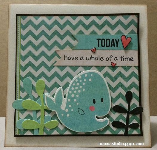 "Today Have a Whale of a Time Materials used: Stamps - Critters in the Sea (Lawn Fawn); Die Cuts - Hello Sunshine (KAISERCraft); Designer Paper - 6-1/2"" Paper Pad - Hello Sunshine (KAISERCraft); Cardstock (American Crafts); Distress Ink and Glossy Accents (Ranger)."