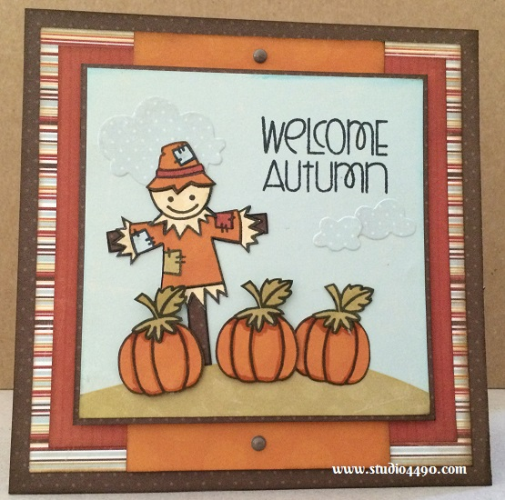 Welcome Autumn Materials used: Stamps - Autumn Groves (Paper Smooches); Cardstock - American Crafts; Designer Paper - 6x6 Paper Pad - Blast Off (Three Bugs in a Rug); Wise Dies - Clouds (Paper Smooches); Copic Markers; Distress Ink; Sugardot Stickers - Everyday Vintage (Prima).