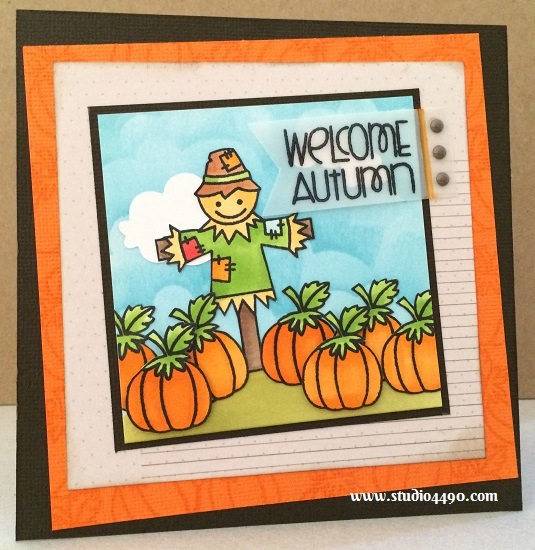 Welcome Autumn Materials used: Stamps - Autumn Groves (Paper Smooches); Cardstock - American Crafts; Designer Paper - 6x6 Paper Pad - Lady Bird Collection (Prima); Vellum (Unknown); Wise Dies - Clouds (Paper Smooches); Copic Markers; Distress Ink; Sugardot Stickers - Everyday Vintage (Prima).