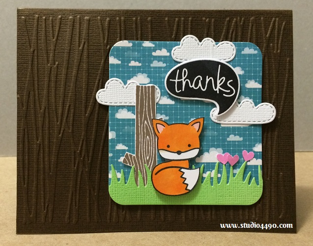 Thanks Materials used: Stamps - Chevron Backdrops, Chit Chat, Critters on the Savanna, Into the Woods (Lawn Fawn); Lawn Cuts - Chit Chat, Grassy Border, Spring Showers (Lawn Fawn); Cardstock - American Crafts; Designer Paper - Here & There (Studio Calico/American Crafts); Embossing Folder (Cuttlebug); Hero Arts Shadow Ink (Hero Arts); Copic Markers and Wink of Stella.