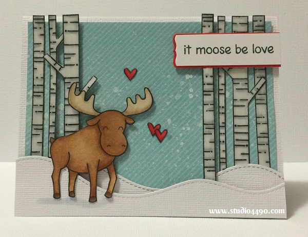 It moose be love Materials used: Stamps -  Critters in the Arctic, Joy to the Woods (Lawn Fawn); Dies - Lawn Cuts - Stitched Hillside Border (Lawn Fawn), Die-namics Blueprints 5 (My Favourite Things); Designer Paper - Hello Sunshine 6x6 Paper Pad (Lawn Fawn); Cardstock - Unknown, American Crafts; Copic Markers, Mister Huey's Color Mists - Opaque White (Studio Calico); Glossy Accents and Wink of Stella.