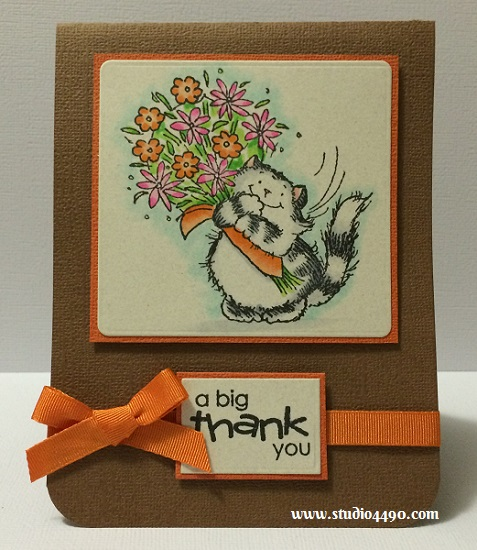 A Big Thank You Materials used: Stamps - Critter Time (Penny Black); Cardstock (doodlebug design); Copic Markers; Ribbon (American Crafts) and Wink of Stella.