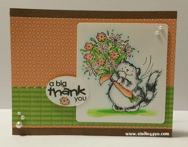 A Big Thank You Materials used: Stamps - Critter Time (Penny Black); Designer Paper - Sugar Shoppe, Take Note (doodlebug design); Copic Markers; Pearls (KaiserCraft) and Wink of Stella.