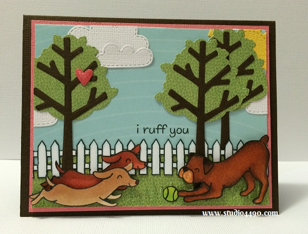 I Ruff You Materials used: Stamps - Critters at the Dog Park, Critters on the Farm (Lawn Fawn); Dies - Chit Chat Dies, Grassy Borders. Spring Showers, Stitched Hillside Borders, Sweater Weather (Lawn Fawn); Cardstock - American Crafts, Doodlebug Design; Designer Paper - Birthday Mood Rings (KI Memories), Hello Sunshine (Kaiser Craft), Copic Makers, Glossy Accents and Wink of Stella.