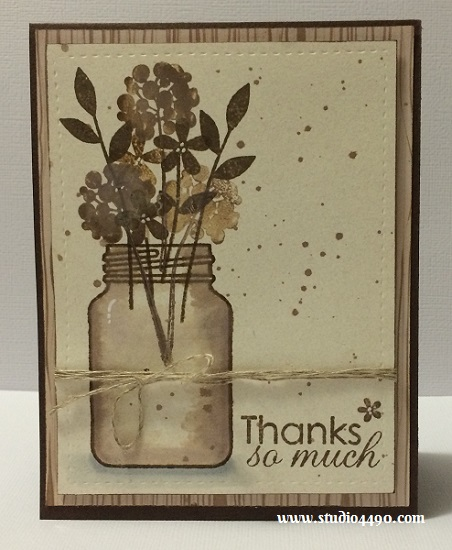 """Thanks So Much Materials used: Stamps - Crystal Clear (Paper Smooches); Cardstock - KaiserCraft, Unknown; Designer Paper: 6-1/2"""" Paper Pad - Bow & Arrow (KaiserCraft); Distress Ink; Linen Thread (Stampin' Up!) and Wink of Stella."""