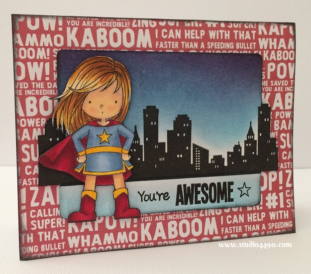 """You're Awesome Materials used:  Stamps - Birdie Brown You're Awesome (My Favourite Things); Dies  - Die-Namics Blueprints 5 (My Favourite Things); Designer Paper - Party with Amy Locurto """"Boy"""" (Pebbles Inc.); Distress Inks and Copic Markers."""