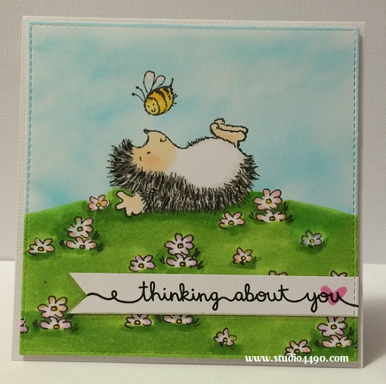Thinking About You Materials used: Stamps - Paint the Town (Penny Black), #Awesome, Scripty Sayings (Lawn Fawn); Distress Ink, Copic Markers, Die - Die-namics Blueprints 8 (My Favourite Things) and Wink of Stella.