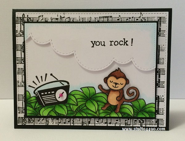 You Rock! Materials used: Stamps - Texture: Sheet Music (KaiserCraft), Critters in the Jungle, Stay Tuned (Lawn Fawn); Cardstock - American Crafts, Knights; Copic Markers; Dies - Creative Cuts - Landscape Trio (Mama Elephant),  Pierced Rectangle Stax, Die-namics Blueprints 13 (MFT); and Mini Pearls - Spring Assortment (Doodlebug Design).