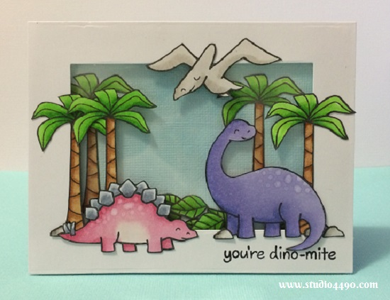 You're Dino-mite Materials used: Stamps - Critters from the Past (Lawn Fawn); Dies - Custom Panels Die (Avery Elle), Pierced Rectangle Stax (MFT); Cardstock - American Crafts, Knights Smooth,; and Copic Markers.