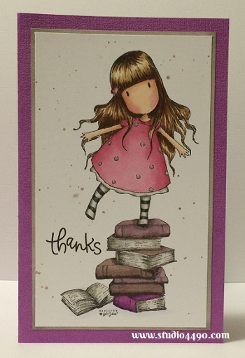 Thanks  Materials used: Stamps - New Heights (Gorjuss/DoCrafts), Thanks (Simon Says Stamp); Copic Markers, Distress Ink - Walnut Stain; Cardstock - Doodlebug Design, Knights Smooth..