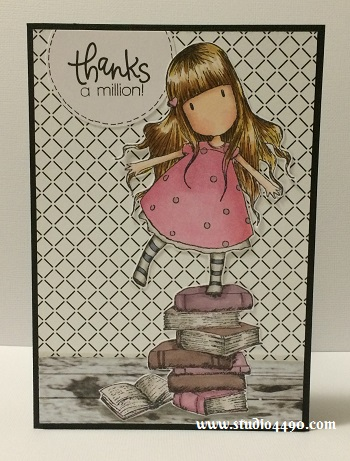 Thanks a million! Materials used: Stamps - New Heights (Gorjuss/DoCrafts), Thanks (Simon Says Stamp); Copic Markers, Cardstock - American Crafts, Knights Smooth; Designer Paper - Black & White (Glitz) and Circle Craft Punch (Fiskars).
