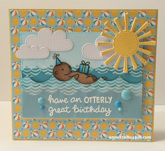 Have an OTTERLY lovely birthday Materials used:  Stamps - Year Two, Year Five (Lawn Fawn); Dies - Spring Showers, Ocean Waves Borders (Lawn Fawn), Pierced Rectangle Stax (MFT); Designer Paper - Sunkissed (Doodlebug Design); Cardstock - Knights Smooth, American Crafts, Doodlebug Design; Wink of Stella; Distress Inks; Copic Markers and Enamel Stickers - Blue (Francheville).