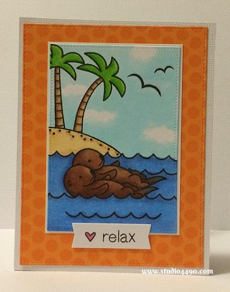 Relax Materials used: Stamps - Life is Good, Year Five (Lawn Fawn); Dies - Die-namics Blueprints 13, Pierced Rectangle Stax (MFT); Cardstock - Knights Smooth, American Crafts; Designer Paper - Sunkissed (Doodlebug Design), and Copic Markers.
