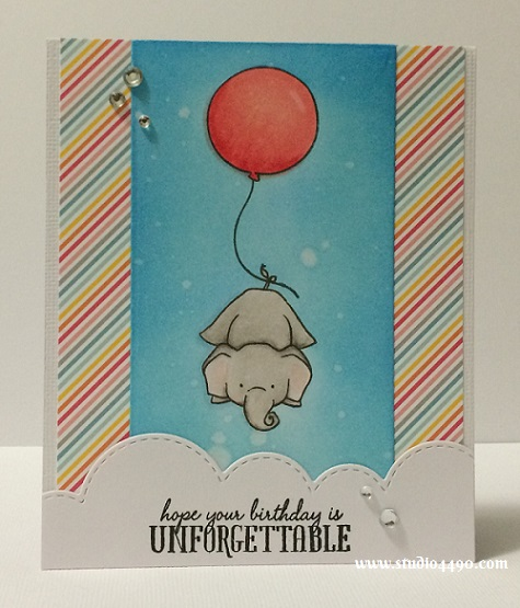 Hope your birthday is unforgettable Materials used: Stamps - Unforgettable (WPlus9); Dies - Die-namics Blueprints 13, Landscape Trio (Mama Elephant); Cardstock - American Crafts, Knights Smooth; Designer Paper - Hello Sunshine (Lawn Fawn); Distress Inks, Copic Markers and Rhinestones (KaiserCraft).