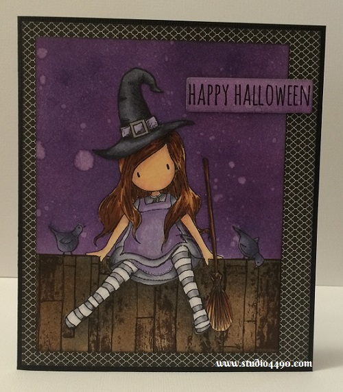 Happy Halloween Materials used: Stamps - On Top of the World (Gorjuss/DoCrafts), Crazy Talk (Tim Holtz/Stampers Anonymous), Crazy Things (Tim Holtz/Stampers Anonymous), Vintage Fence (KaiserCraft); Cardstock - American Crafts, Knights Smooth;  Designer Paper - Black & White (Glitz); Dies - Die-namics Blueprints 7 (MFT); Copic Markers, Distress Inks, Distress Markers and Wink of Stella.