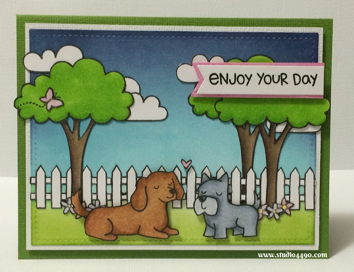 Enjoy Your Day Materials used: Stamps - Critters at the Dog Park, Critters from the Past, Critters on the Farm, Let's Play and Starry Backdrops (Lawn Fawn); Dies - Project Life (Becky Higgins); Small Stitched Rectangle Stackables (Lawn Fawn); Cardstock - American Crafts, Knights; Distress Ink; Copic Markers and Wink of Stella.